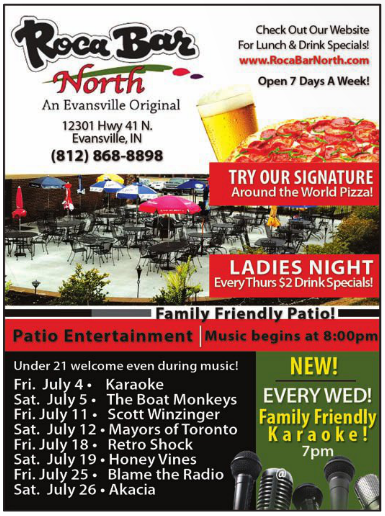 "roca-bar-north-best-pizza-evansville-indiana-food-bar-drink-specials-patio-grill-entertainment-live-music-what-to-do-weekends-beer"" title=""Roca-Bar-North-Evansville-May"
