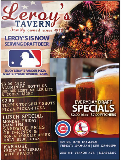 Leroys Tavern beer pizza watch games baseball